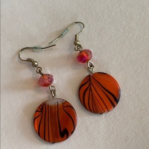 Bright Orange and black earrings